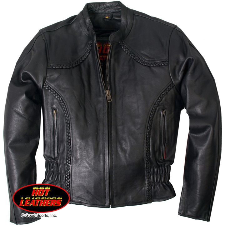 Hot Leathers Ladies Scooter Jacket with Braided Detail