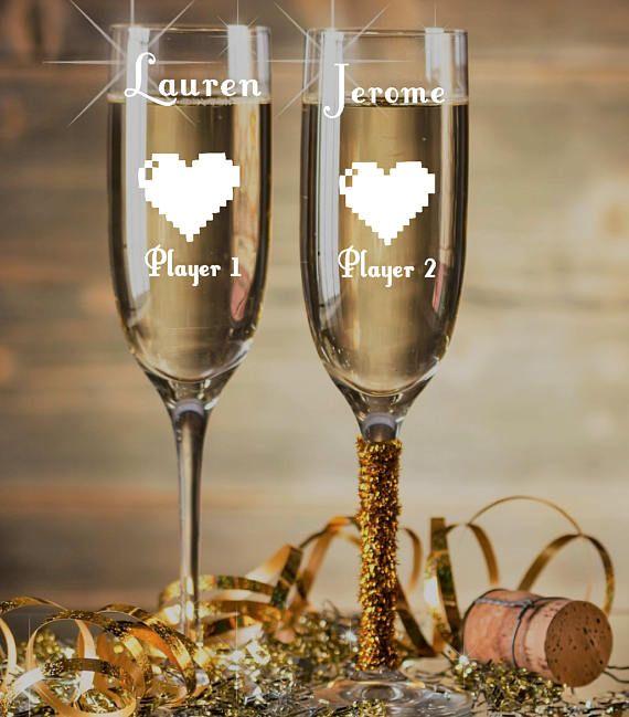 Player 1 Player 2~ Geek Champagne Glasses~ Nerdy Wedding Gift~ Geek Wedding~ 8 bit retro gaming, Video Game Wedding Gift~ Custom Champagne