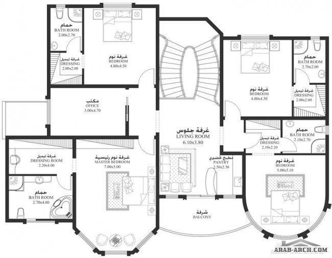 The Villas Project 5 Rooms 506 Square Meters Two Floors Housing مساقط الفيلا 5 غرف 506 متر مربع طابقين Square House Plans House Plans Mansion My House Plans