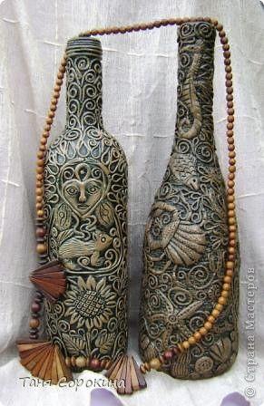 Декор предметов Аппликация из скрученных жгутиков Имитация дерева Пейп-арт Бутылки стеклянные Салфетки фото 1