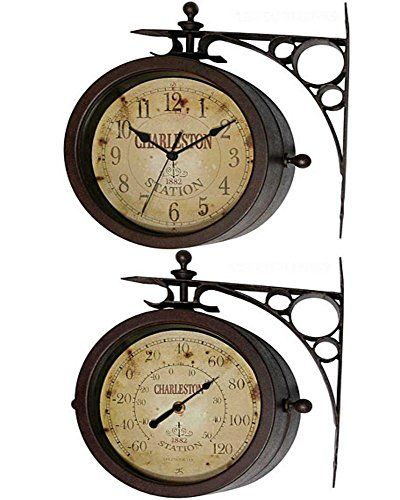 """Outdoor Waterproof 8"""" Double Sided Clock And Thermometer Indoor Rustic Charleston Clock > 8"""" Round Outdoor/Indoor Clock With Silent Movement (Requires one (1) AA battery (not included) Once side is a clock and the other side is a Thermometer in Celsius and Fahrenheit degrees Double Sided Bracket Mounted Indoor/Outdoor Clock; Bracket for Hanging Included Check more at…"""
