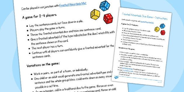 Fronted Adverbials Dice Game Instructions - fronted, adverbials, dice