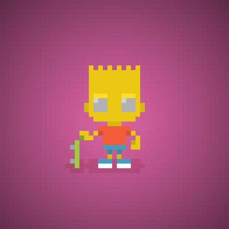 Famous Characters in Pixel Art • Bart Simpsons #pixelart #pixel #bart #thesimpsons #simpsons #16bit #cartoons #cartoonseries #springfield #mattgroening #cartoni #cartonianimati #bartsimpson #simpson #yellow #theoluk #skate #skateboard