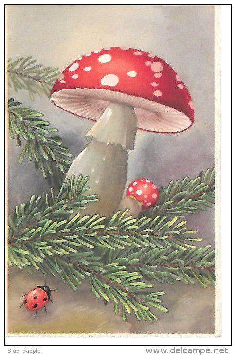 Vintage Happy New Year Card ~ Mushroom & Ladybug