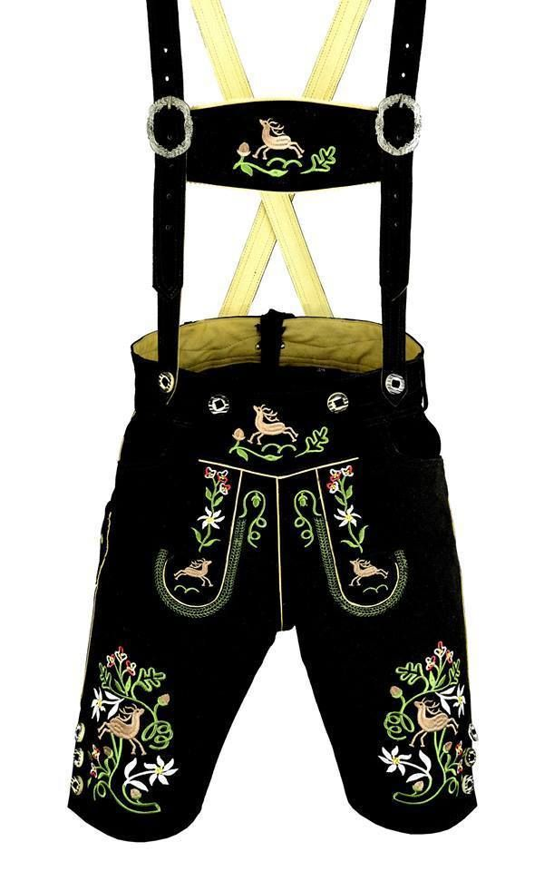 German bavarian lederhosen suede leather black with multi color embroidery 1003 #AuthenticLederhosenLLC