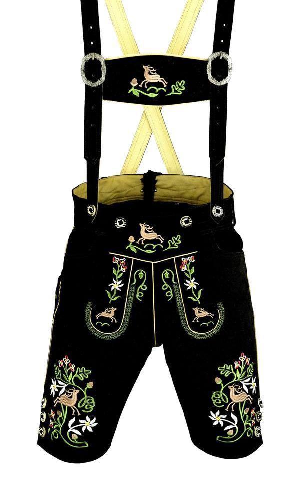 German bavarian lederhosen suede leather black with multi color embroidery 1003 #AuthenticLederhosenLLC