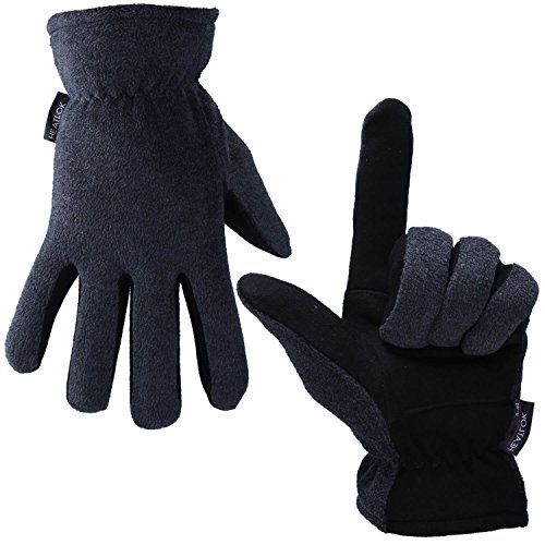 OZERO Deerskin Suede Leather Palm and Polar Fleece Back with Heatlok Insulated Cotton Layer Thermal Gloves Large - Grey-Black