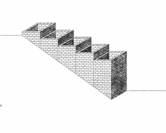 """Alice Aycock (American, born 1946), Project for Five Wells Descending a Hillside, 1975, Pencil on vellum, 21 1/2 x 37 1/2"""", Collection of Lauren Ewing, New York. (Grey Art Gallery)"""