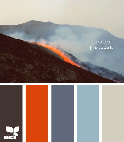 """Nature-made color - """"color streak"""".  I would """"streak"""" with a different hue, probably, and have done so in my home with a softer terra cotta than the orange-rust here in the living room and kitchen."""
