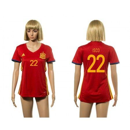 Spanien Fotbollskläder Kvinnor 2016 #Isco 22 Hemmatröja Kortärmad,259,28KR,shirtshopservice@gmail.com