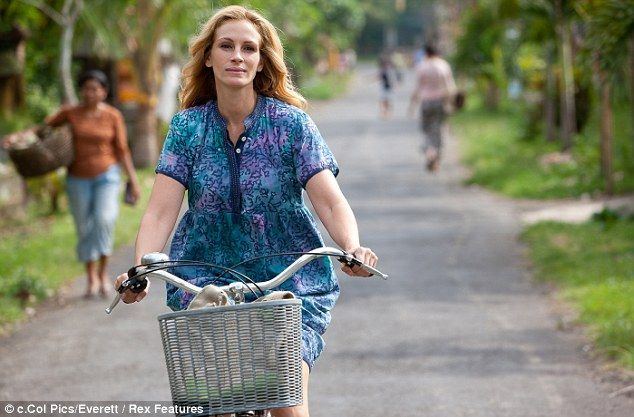 Julia Roberts' character discovers relaxing Bali by bicycle in the film