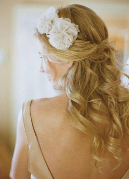 Half Up Wedding Hairdo For Long Hair