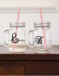 Pair of personalised Mason Jar cups with Straws