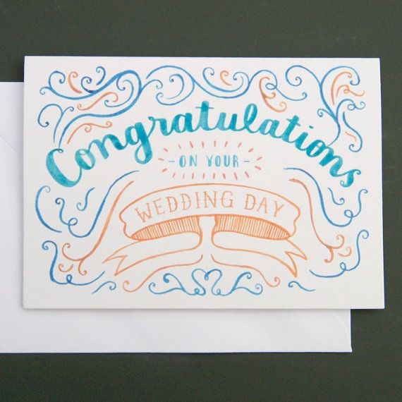 Congratulations On Your Wedding Day card by nicfarrell on Etsy