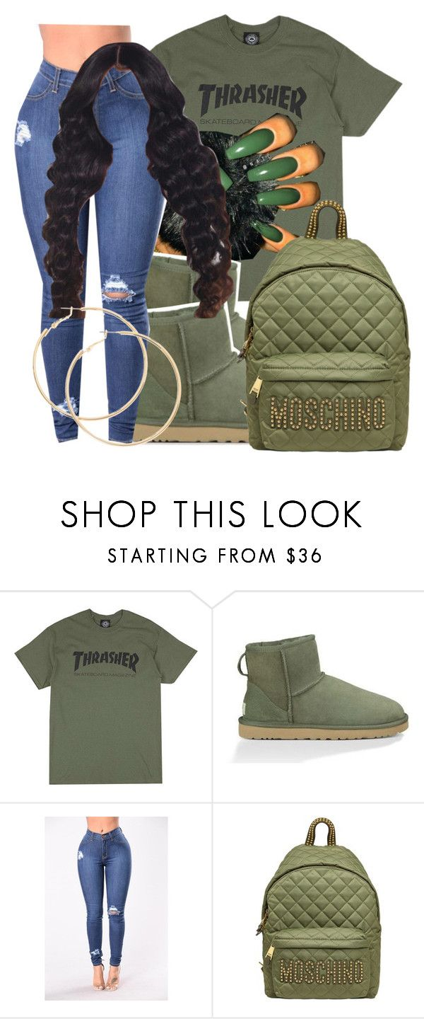 periodt sis! by gimmietink ❤ liked on Polyvore featuring UGG Australia, Moschino and olivegreen