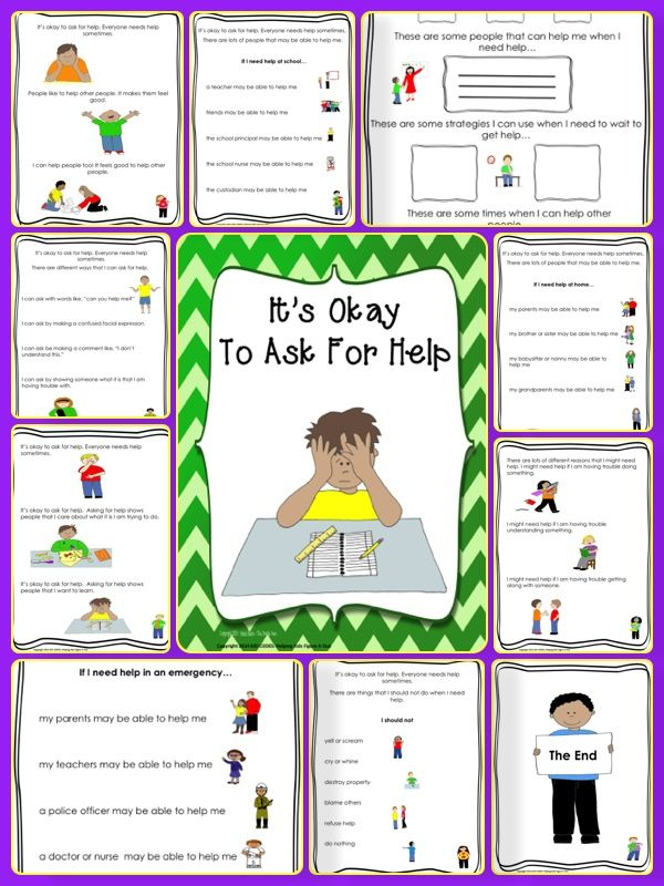 This is a social story about asking for help. The story discusses when one may need to ask for help and how to do it. There is a page at the end for students to write in their ideas about when they may need help, strategies they can use and who may be able to help them, making this story and interactive experience.