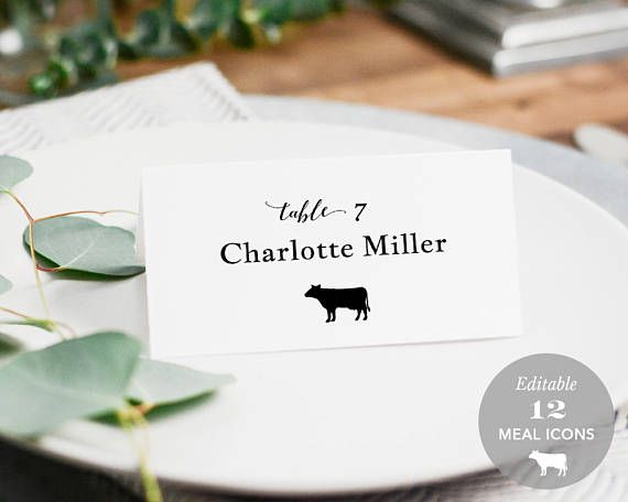 Wedding Place Card Printable Place Card Template Meal Choice