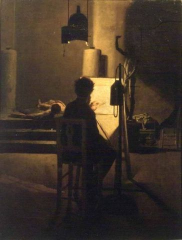 Napoleone Nani, Nello studio, 1870. Rome, Galleria Nazionale d'Arte Moderna