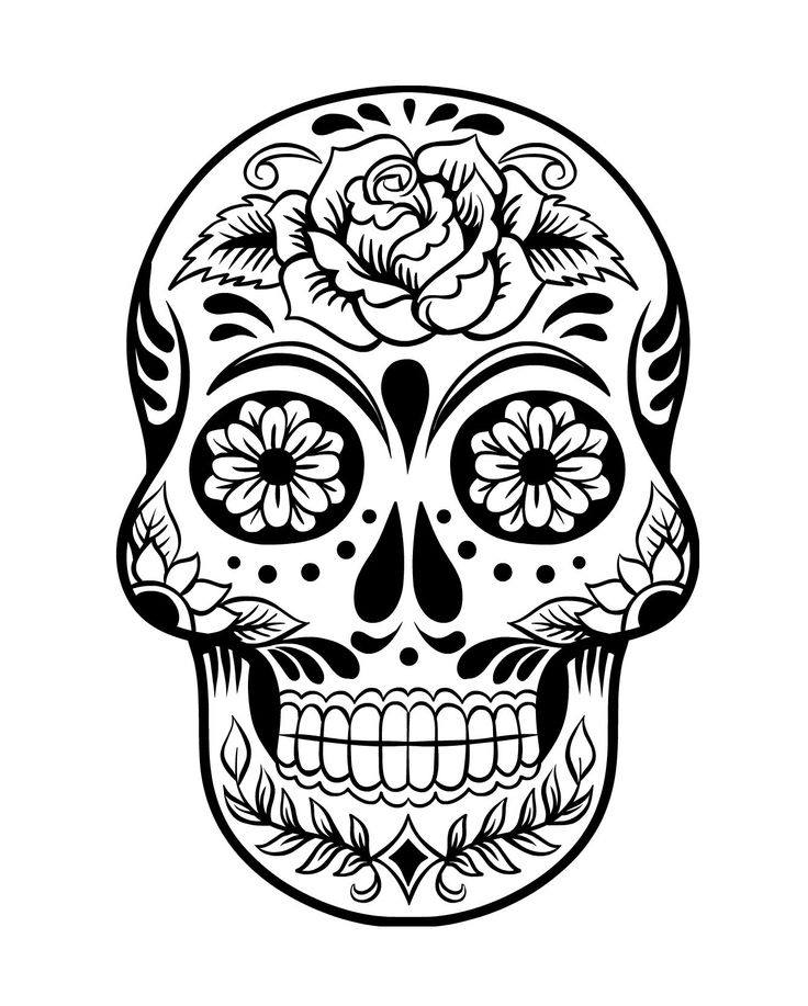 Day of the Dead Skull Coloring page 2
