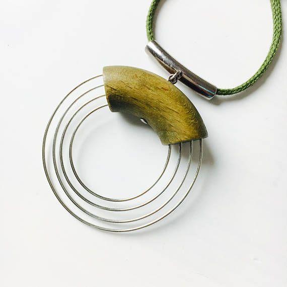 Vintage Aarikka wood & metal necklace-Kaija Aarikka Made in
