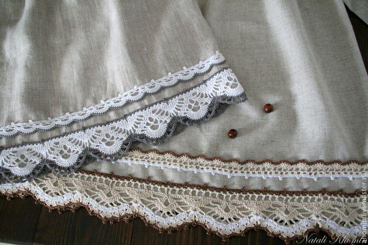 """Купить Льняное детское платье """"Деревенька-2"""" - бежевый, льняное платье, детское платье"""