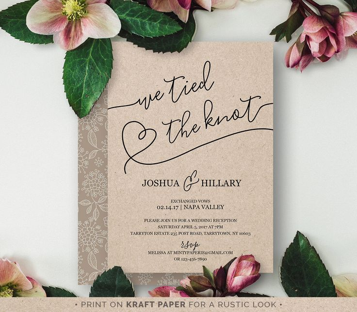 Printable Elope Announcement, We Tied the Knot, Rustic Wedding Elopement Invitation, Instant Download, Editable Text, PDF Template #103EL by MintyPaperieShop on Etsy https://www.etsy.com/listing/467931988/printable-elope-announcement-we-tied-the