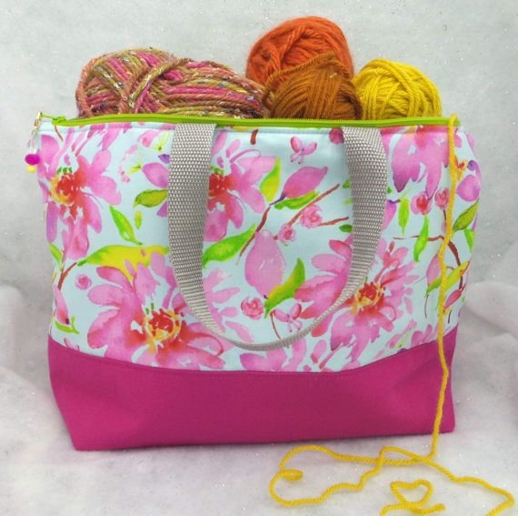 Large 2 Compartment Knitting Bag Spring By Aprilninedesigns