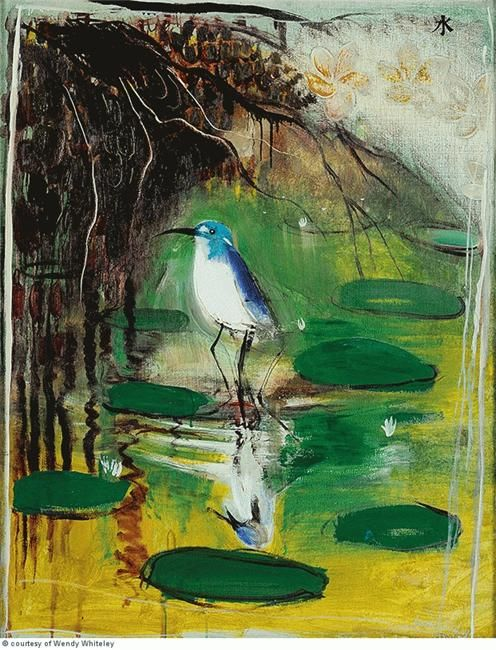 """Shui"" in 1978-79 by Brett Whiteley. Oil and mixed media on board."
