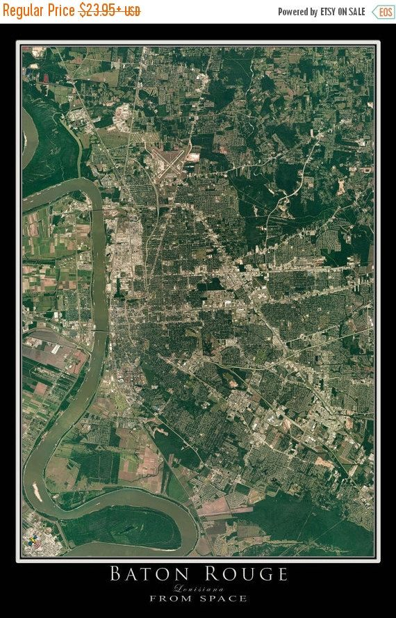 Louisiana Deer Map%0A     OFF Baton Rouge Louisiana From Space Satellite Poster Map