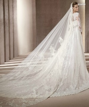 A Line/ Princess V-neck 3/4-Length Sleeves Cathedral Train Tulle Lace Wedding Dress