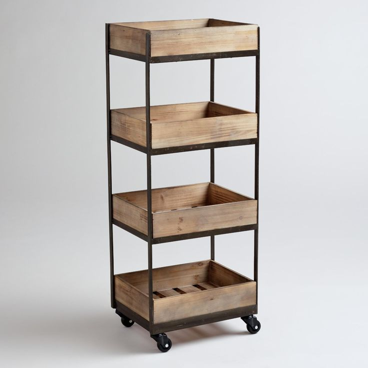 4-Shelf Wooden Gavin Rolling Cart | World Market