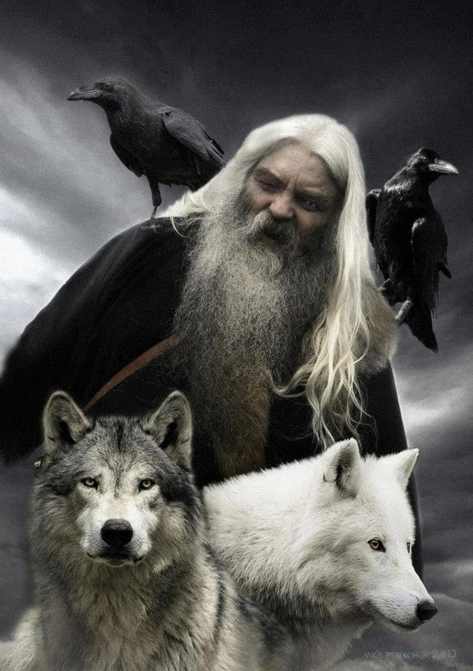ODIN with the two ravens HUGINN & MUNINN and the two wolves GERI & FREKI.