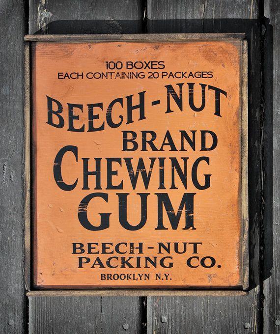 NEW Vintage wooden sign 'BeechNut Gum decorative by VASSdesign