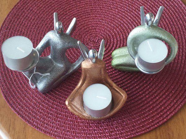 Set of 3 Sandstone Yoga TeaLight Holders
