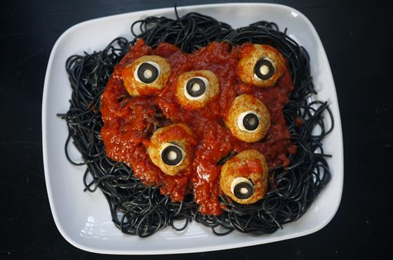 """""""Worms and Eyeballs"""" for a creepy (but not gross!) easy Halloween dinner idea 
