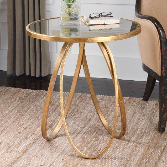 Montrez Gold Accent Table, Forged Metal Frame, Round Antiqued Mirror