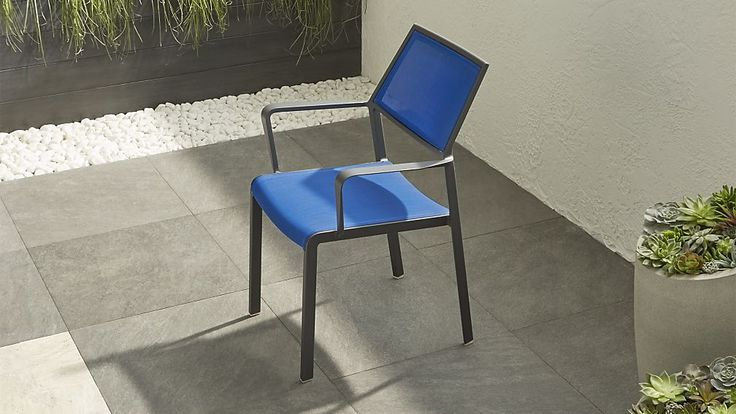 SIX FOR CHILDREN'S TERRACE, Largo Mediterranean Blue Mesh Dining Chair | Crate and Barrel