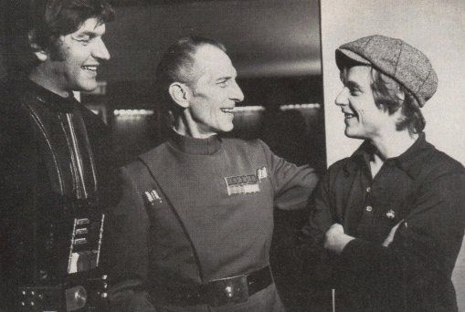 "Mark Hamill visiting the set of Star Wars. That's David Prowse and Peter Cushing right there. ""I find your lack of faith disturbing"""