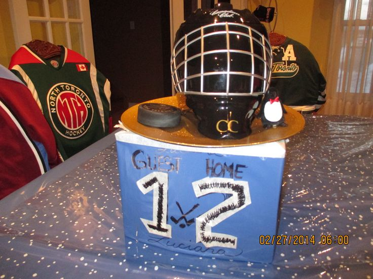 Decoration: Table Centre piece  - score board;made from recycling and then added a  ice bucket helmet and pucks to the top of it.