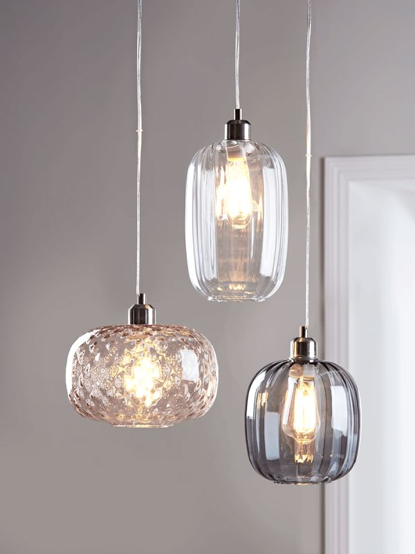 NEW Fluted Glass Pendant - Smoke - Pendant Lighting - Ceiling Lights - Lighting