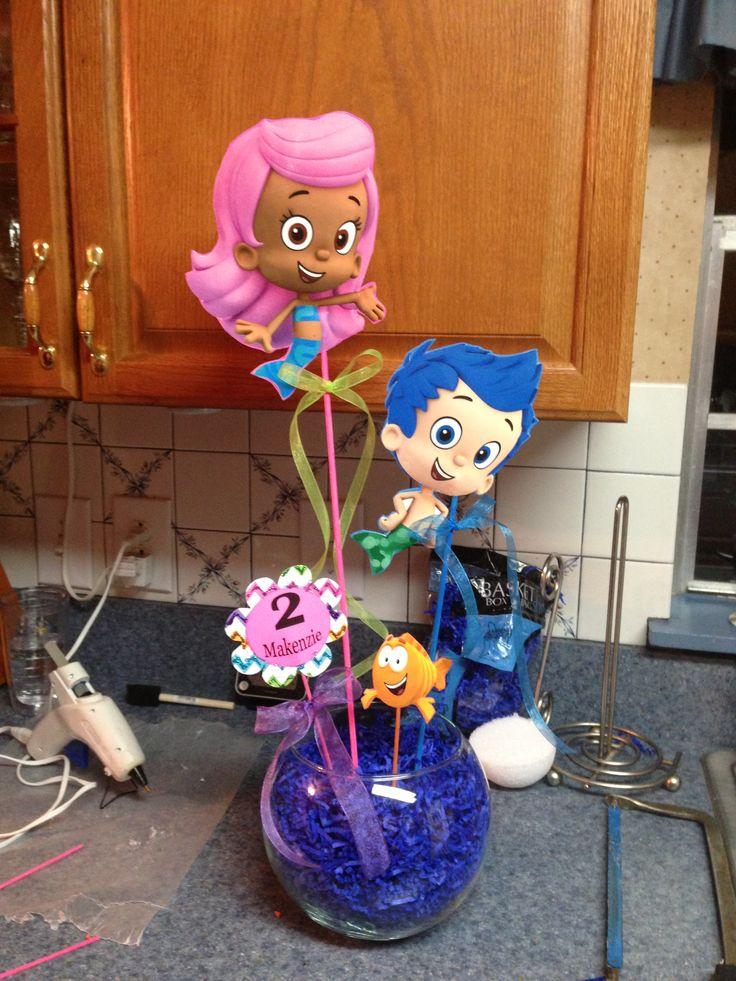 Birthday ideas on pinterest bubble guppies dora the explorer and safari birthday party - Bubble guppies center pieces ...