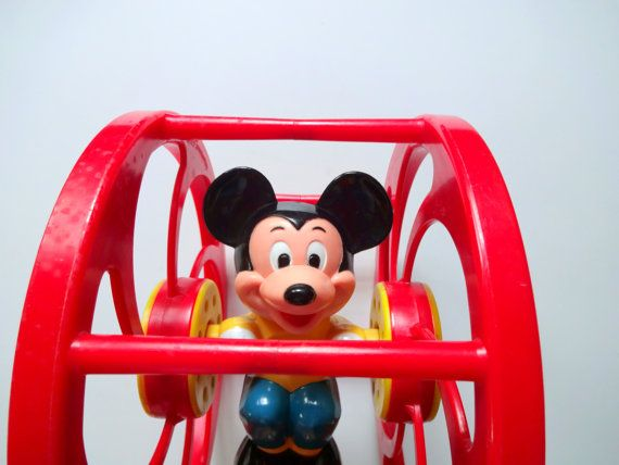 Vintage Mickey Mouse Pre-School Spinning Wheel Toy 1970s