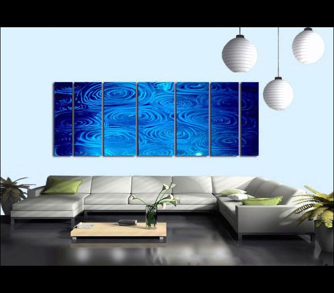 Huge Water Inspired Abstract Painting   Handmade Modern Metal Artwork    Ripples Accent Home Wall Decor   Blue Rain XL By Jon Allen