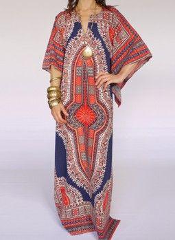 Vintage 1960s Dashiki kaftan dress.