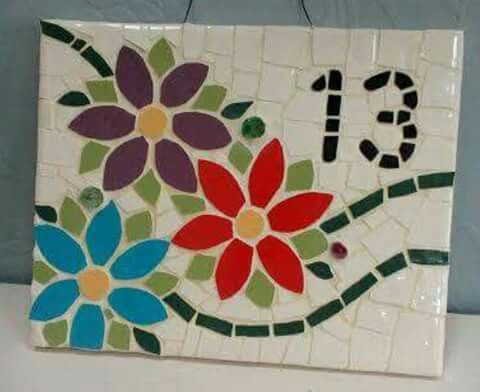 25x20 cm Mosaic House Number 13, Flowers