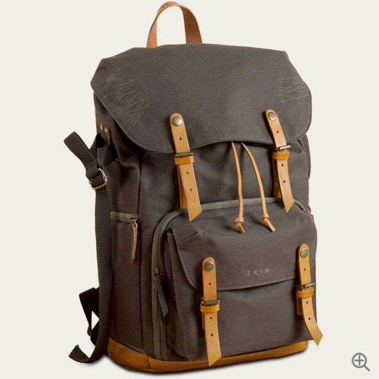 ZKIN Camera Bags. Yeti Backpack. Made of Water Splash Proof Canvas and Leather.