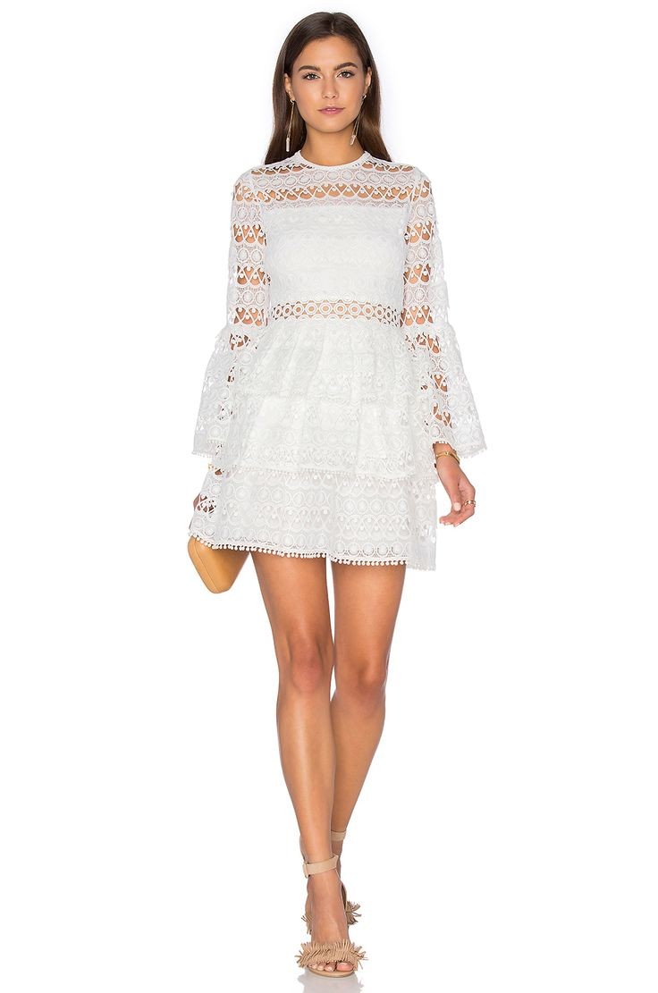Alexis Gem Dress in White Embroidery