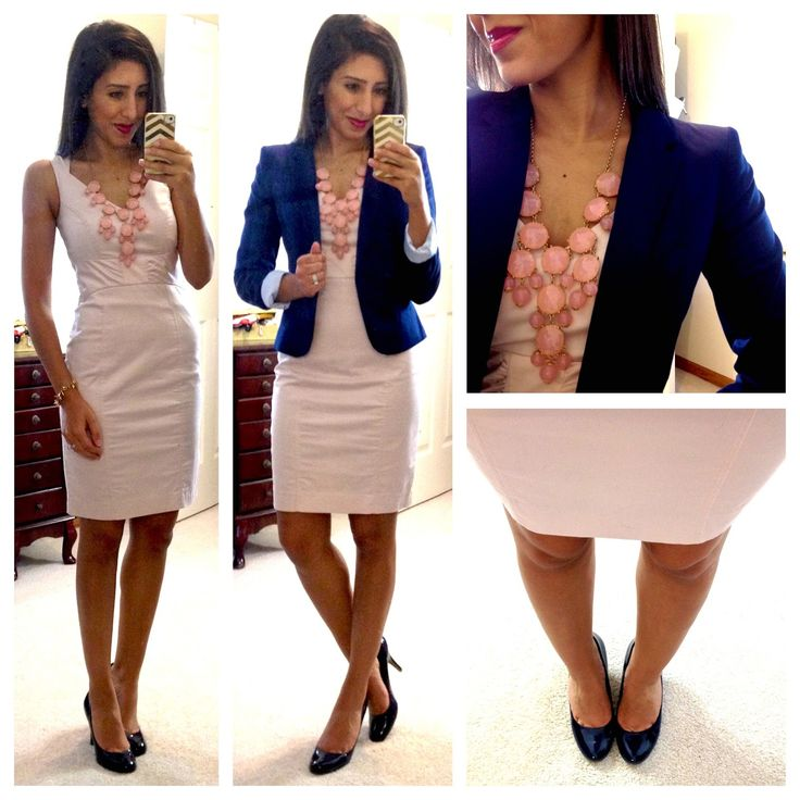 H dress (in dusty pink), H blazer (in navy), bubble necklace via eBay (in light pink),  Target Mossimo Pearce Pumps (in navy)