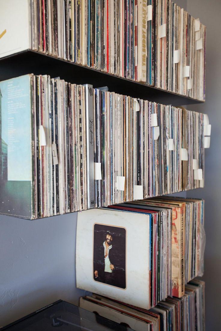 floating metal record shelves zimm metalworks creative. Black Bedroom Furniture Sets. Home Design Ideas