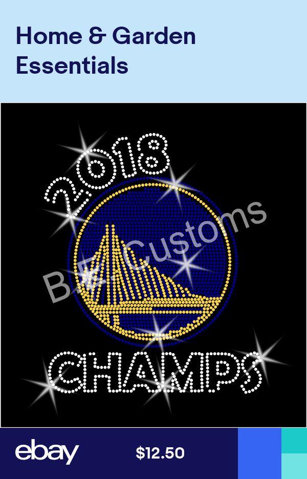 "Iron On Rhinestone Transfer /""Golden State Warriors 2018 champs/"" Hotfix Bling"